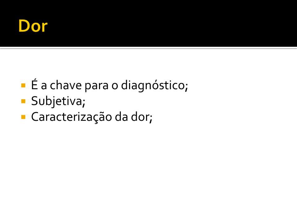  É a chave para o diagnóstico;  Subjetiva;  Caracterização da dor;
