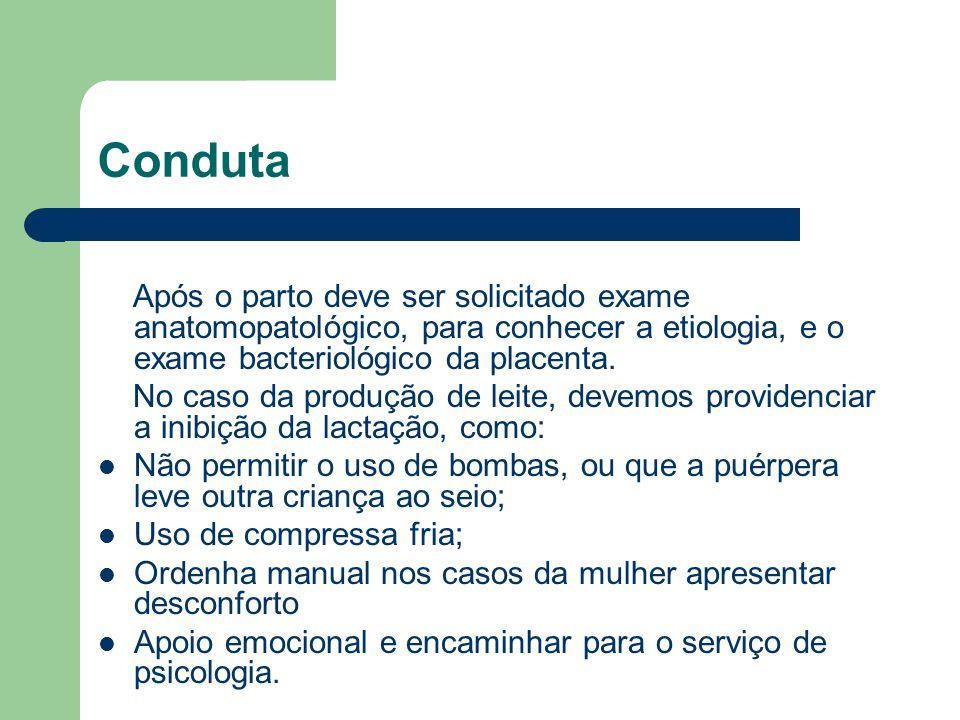 Conduta Após o parto deve ser solicitado exame anatomopatológico, para conhecer a etiologia, e o exame bacteriológico da placenta. No caso da produção