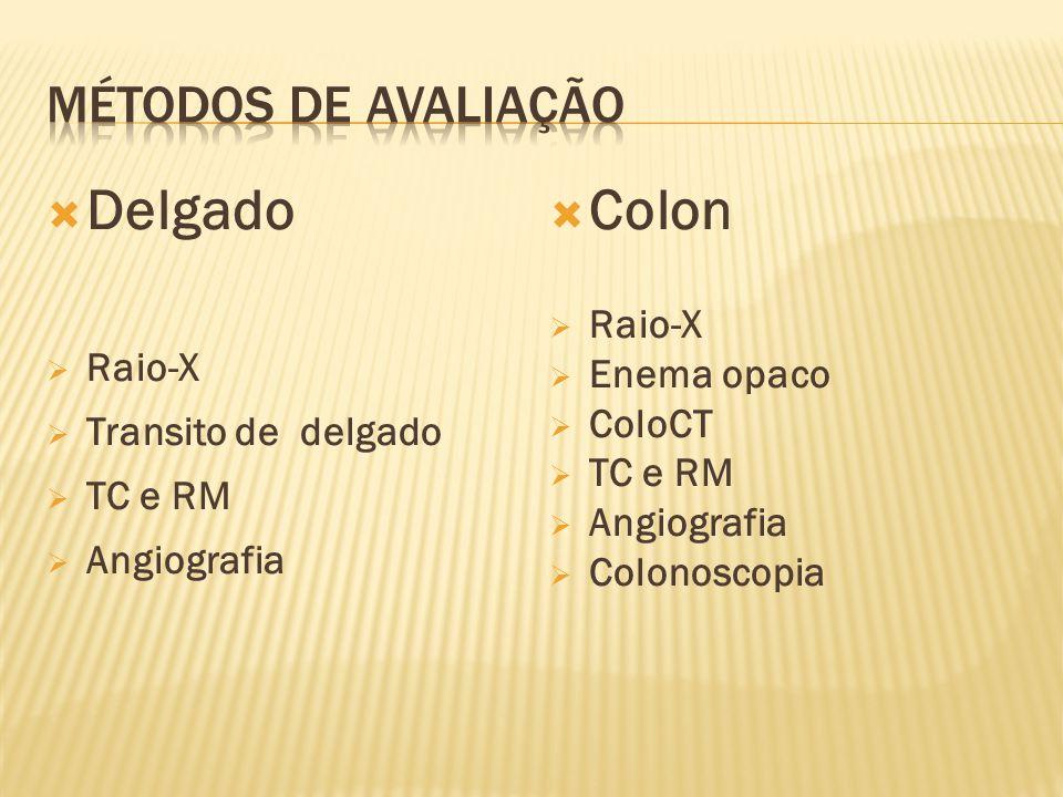  Delgado  Raio-X  Transito de delgado  TC e RM  Angiografia  Colon  Raio-X  Enema opaco  ColoCT  TC e RM  Angiografia  Colonoscopia