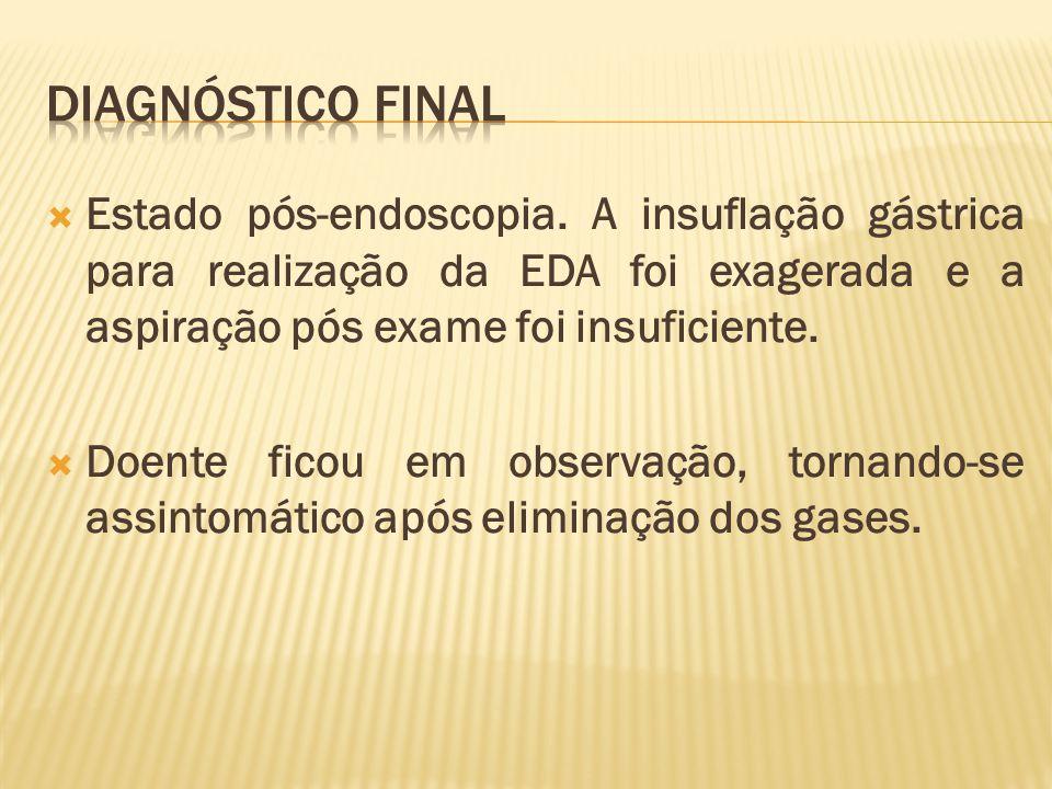  Estado pós-endoscopia. A insuflação gástrica para realização da EDA foi exagerada e a aspiração pós exame foi insuficiente.  Doente ficou em observ