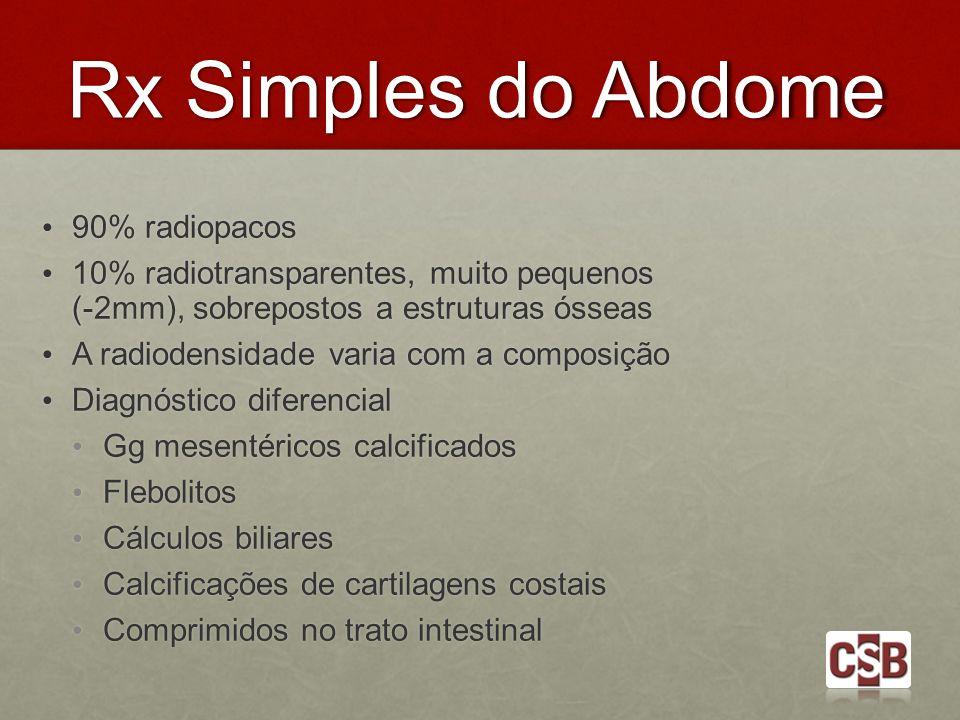 Rx Simples do Abdome 90% radiopacos 90% radiopacos 10% radiotransparentes, muito pequenos (-2mm), sobrepostos a estruturas ósseas 10% radiotransparent