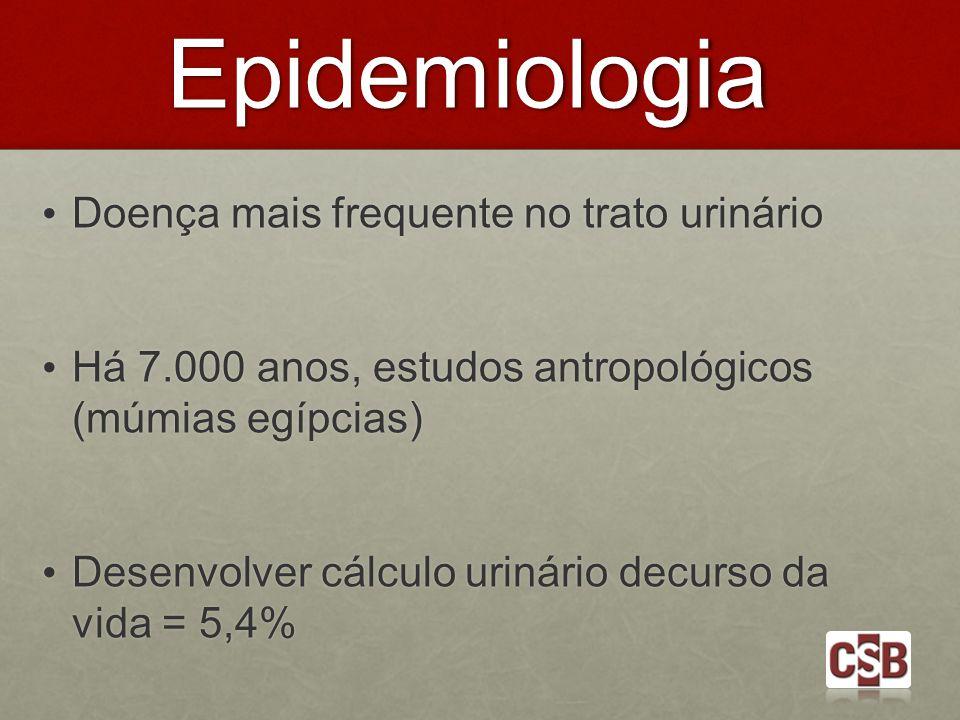 Epidemiologia Doença mais frequente no trato urinário Doença mais frequente no trato urinário Há 7.000 anos, estudos antropológicos (múmias egípcias)