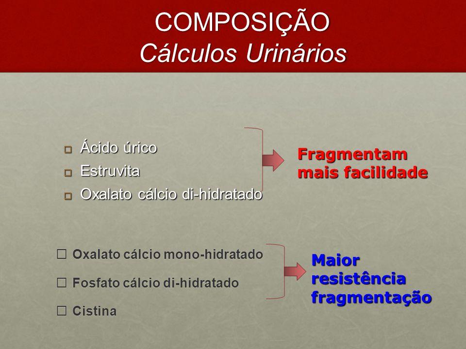 COMPOSIÇÃO Cálculos Urinários  Oxalato cálcio mono-hidratado  Fosfato cálcio di-hidratado  Cistina Fragmentam mais facilidade Maior resistência fra