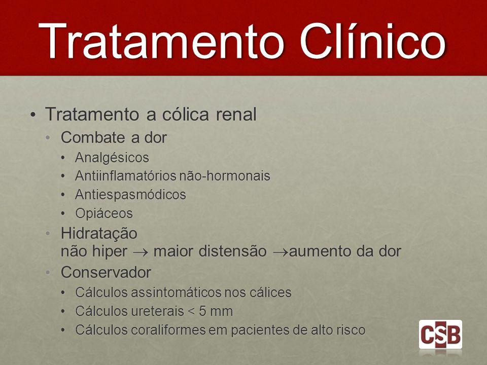 Tratamento Clínico Tratamento a cólica renal Tratamento a cólica renal Combate a dor Combate a dor Analgésicos Analgésicos Antiinflamatórios não-hormo
