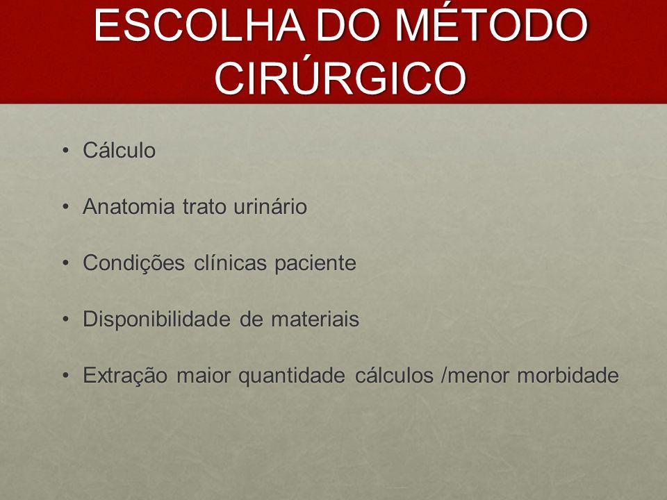 ESCOLHA DO MÉTODO CIRÚRGICO CálculoCálculo Anatomia trato urinárioAnatomia trato urinário Condições clínicas pacienteCondições clínicas paciente Dispo