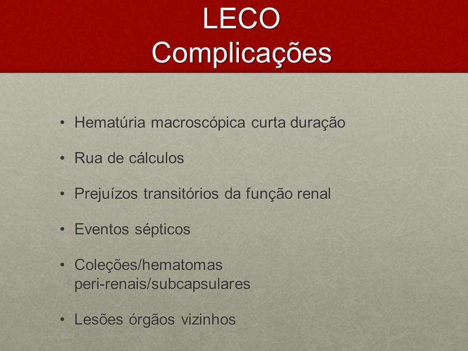 LECO Complicações Hematúria macroscópica curta duraçãoHematúria macroscópica curta duração Rua de cálculosRua de cálculos Prejuízos transitórios da fu