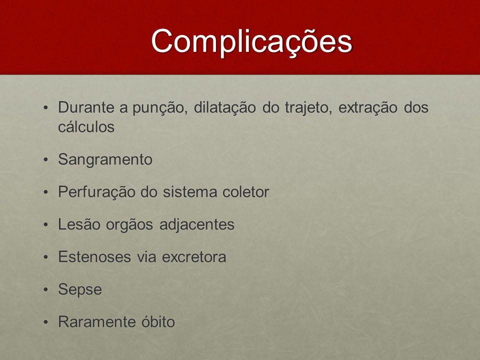 Complicações Complicações Durante a punção, dilatação do trajeto, extração dos cálculos Durante a punção, dilatação do trajeto, extração dos cálculos