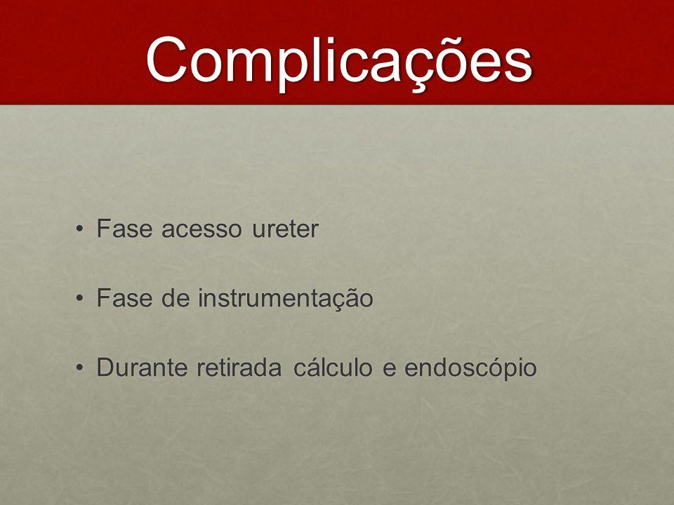 Complicações Fase acesso ureterFase acesso ureter Fase de instrumentaçãoFase de instrumentação Durante retirada cálculo e endoscópioDurante retirada c