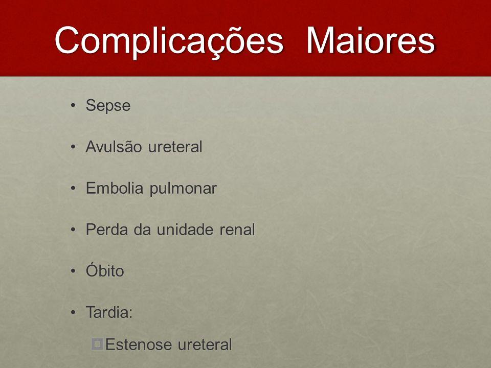 Complicações Maiores Complicações Maiores SepseSepse Avulsão ureteralAvulsão ureteral Embolia pulmonarEmbolia pulmonar Perda da unidade renalPerda da