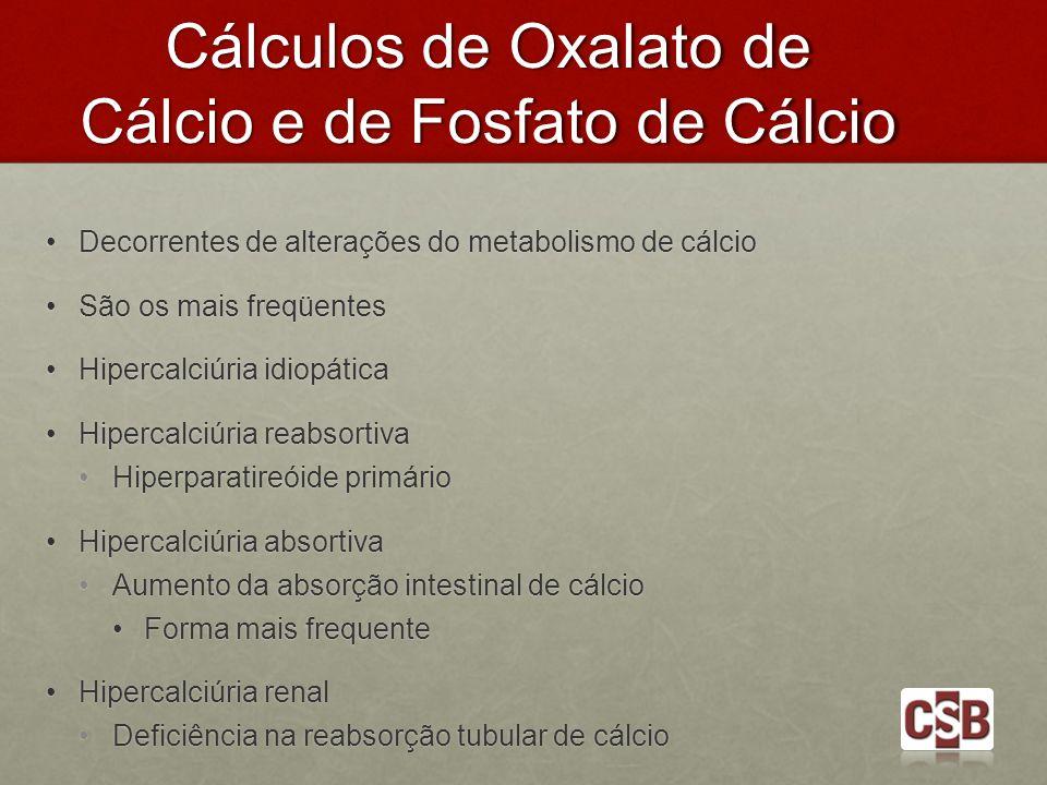 Cálculos de Oxalato de Cálcio e de Fosfato de Cálcio Decorrentes de alterações do metabolismo de cálcio Decorrentes de alterações do metabolismo de cá