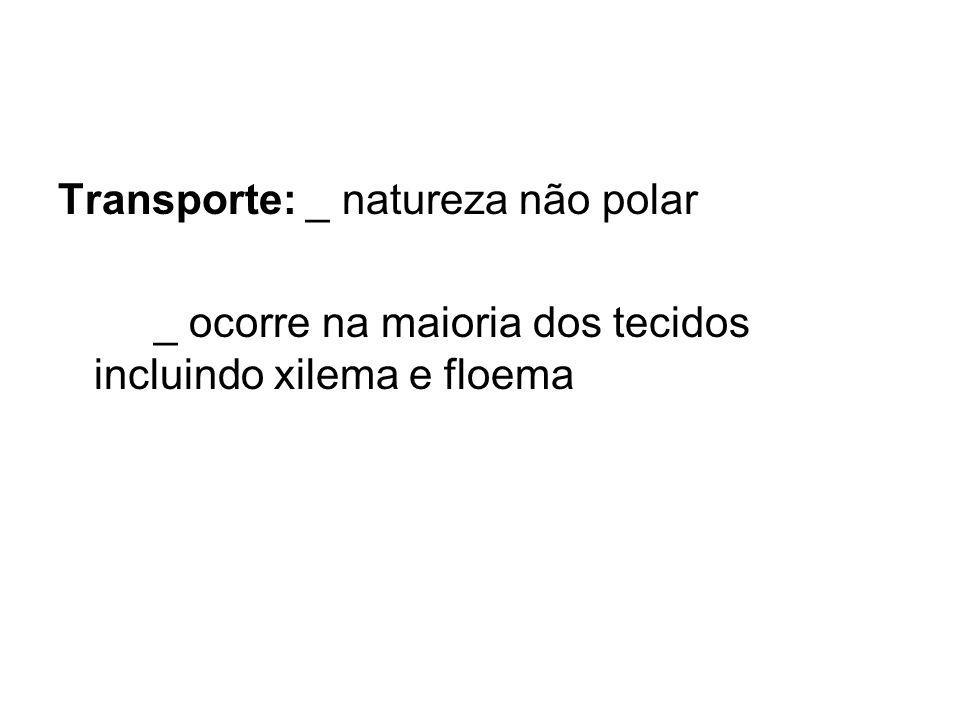 Transporte: _ natureza não polar _ ocorre na maioria dos tecidos incluindo xilema e floema