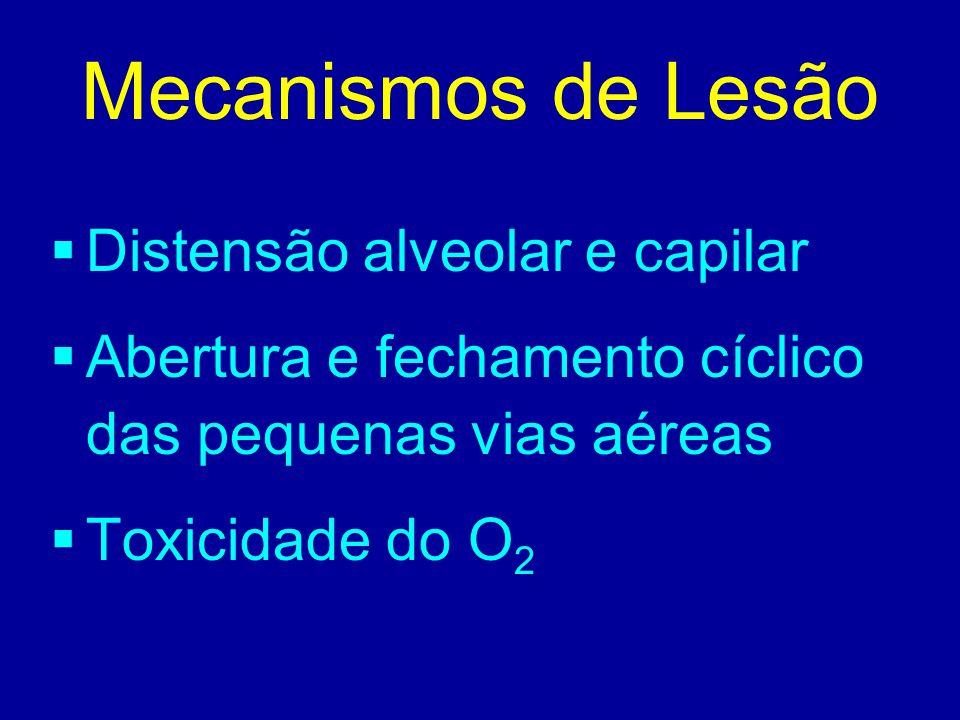 Mecanismos de Lesão  Distensão alveolar e capilar  Abertura e fechamento cíclico das pequenas vias aéreas  Toxicidade do O 2