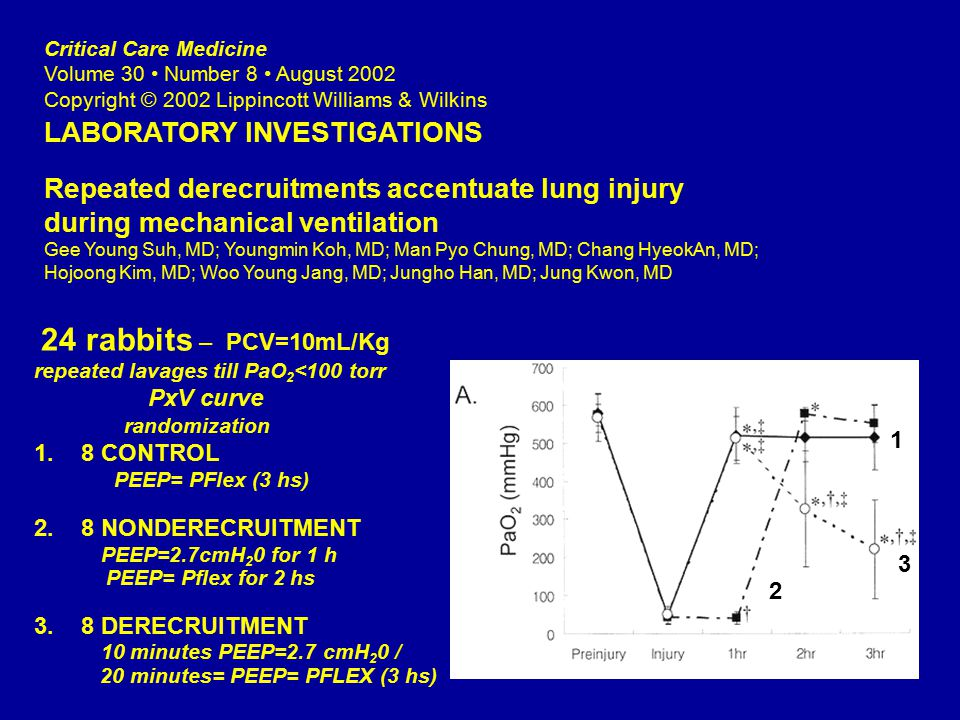 Critical Care Medicine Volume 30 Number 8 August 2002 Copyright © 2002 Lippincott Williams & Wilkins LABORATORY INVESTIGATIONS Repeated derecruitments accentuate lung injury during mechanical ventilation Gee Young Suh, MD; Youngmin Koh, MD; Man Pyo Chung, MD; Chang HyeokAn, MD; Hojoong Kim, MD; Woo Young Jang, MD; Jungho Han, MD; Jung Kwon, MD 24 rabbits – PCV=10mL/Kg repeated lavages till PaO 2 <100 torr PxV curve randomization 1.