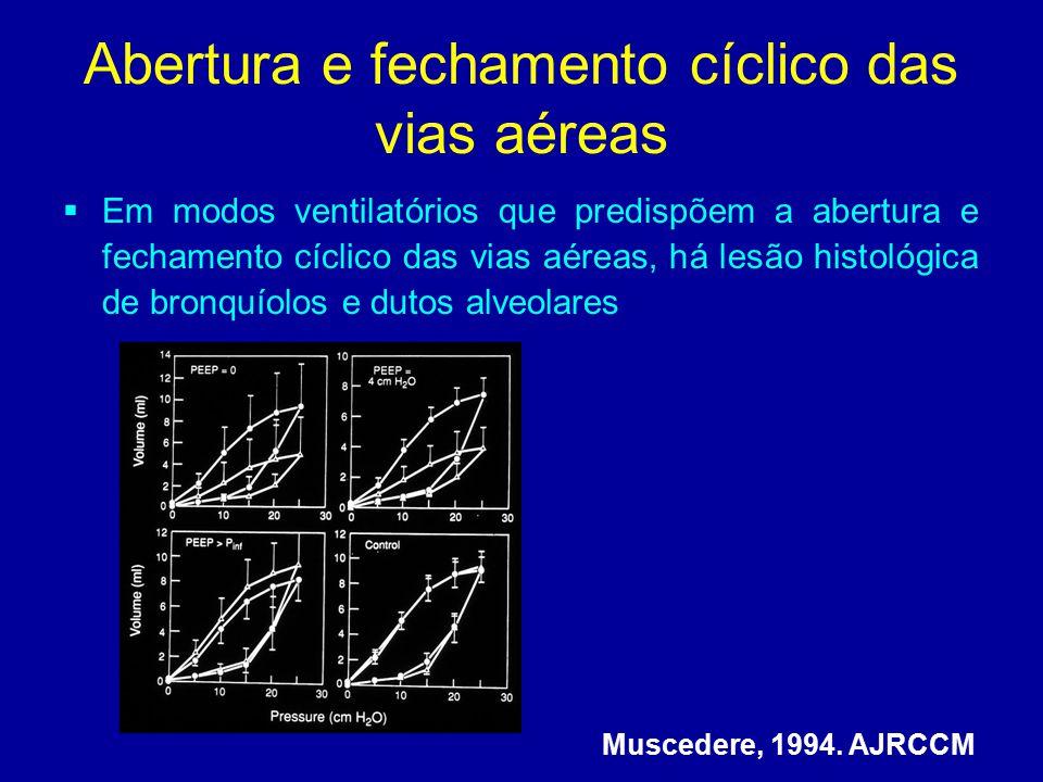 Muscedere, 1994. AJRCCM Abertura e fechamento cíclico das vias aéreas  Em modos ventilatórios que predispõem a abertura e fechamento cíclico das vias