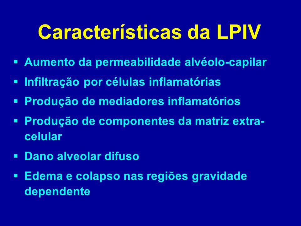 Características da LPIV  Aumento da permeabilidade alvéolo-capilar  Infiltração por células inflamatórias  Produção de mediadores inflamatórios  P