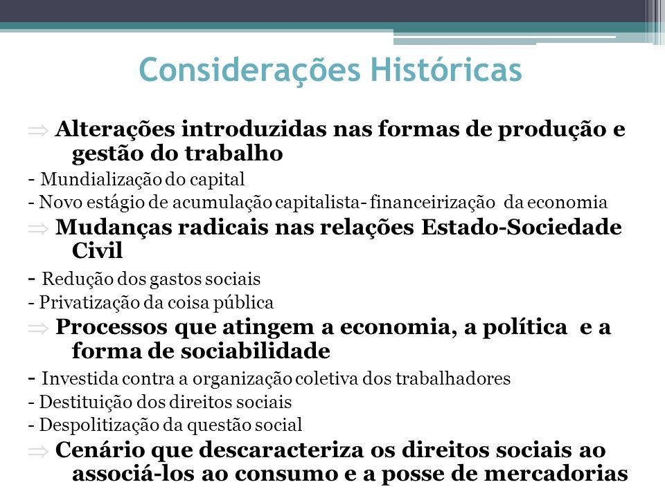 Considerações Históricas  Alterações introduzidas nas formas de produção e gestão do trabalho - Mundialização do capital - Novo estágio de acumulação