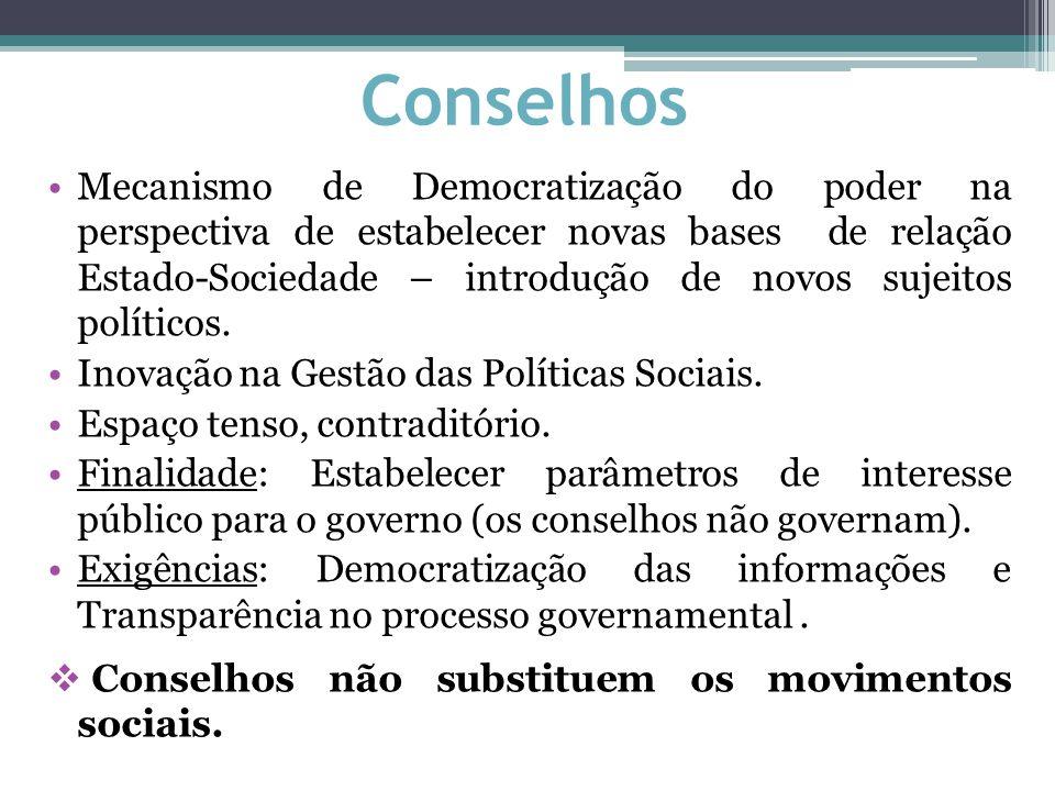 Conselhos Mecanismo de Democratização do poder na perspectiva de estabelecer novas bases de relação Estado-Sociedade – introdução de novos sujeitos po