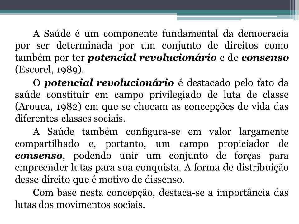 A Saúde é um componente fundamental da democracia por ser determinada por um conjunto de direitos como também por ter potencial revolucionário e de co