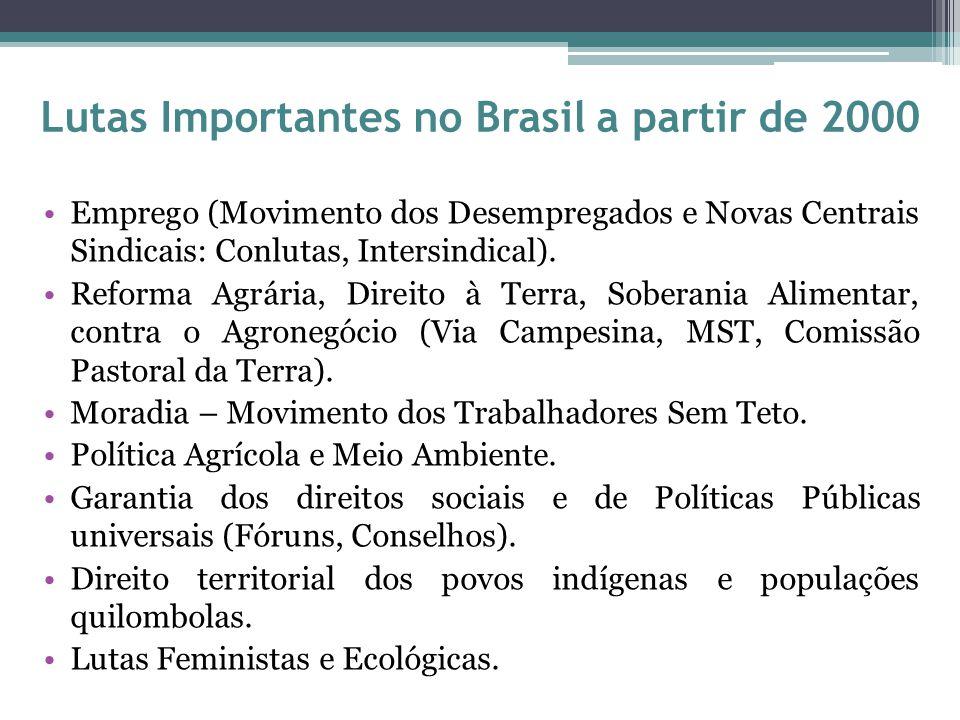 Lutas Importantes no Brasil a partir de 2000 Emprego (Movimento dos Desempregados e Novas Centrais Sindicais: Conlutas, Intersindical). Reforma Agrári