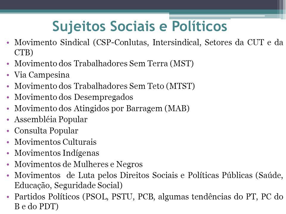 Sujeitos Sociais e Políticos Movimento Sindical (CSP-Conlutas, Intersindical, Setores da CUT e da CTB) Movimento dos Trabalhadores Sem Terra (MST) Via