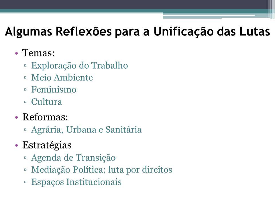 Algumas Reflexões para a Unificação das Lutas Temas: ▫Exploração do Trabalho ▫Meio Ambiente ▫Feminismo ▫Cultura Reformas: ▫Agrária, Urbana e Sanitária