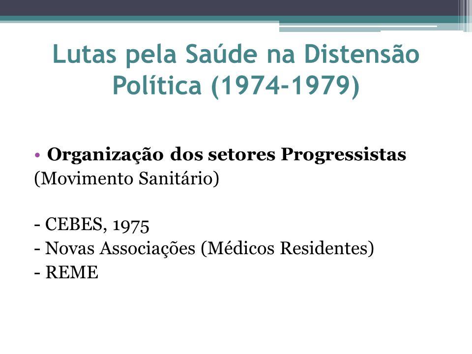 Lutas pela Saúde na Distensão Política (1974-1979) Organização dos setores Progressistas (Movimento Sanitário) - CEBES, 1975 - Novas Associações (Médi