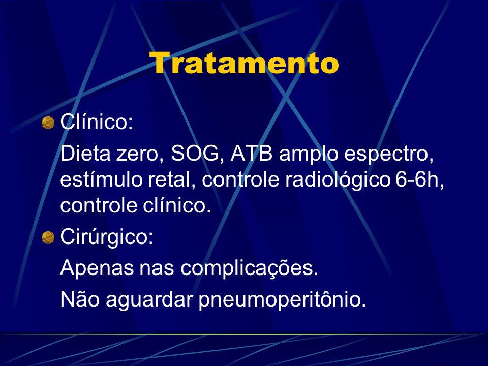 Tratamento Clínico: Dieta zero, SOG, ATB amplo espectro, estímulo retal, controle radiológico 6-6h, controle clínico. Cirúrgico: Apenas nas complicaçõ