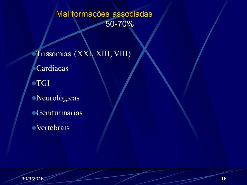 30/3/201516 Mal formações associadas 50-70% Trissomias (XXI, XIII, VIII) Cardíacas TGI Neurológicas Geniturinárias Vertebrais
