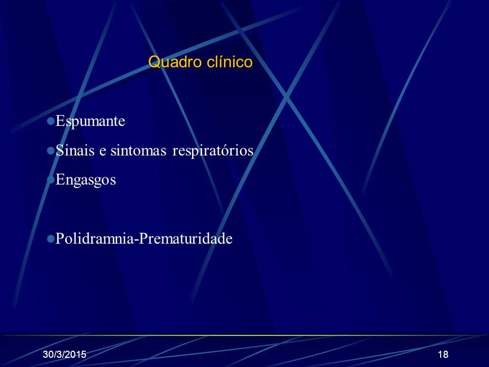 30/3/201518 Quadro clínico Quadro clínico Espumante Sinais e sintomas respiratórios Engasgos Polidramnia-Prematuridade
