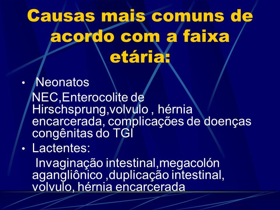 Causas mais comuns de acordo com a faixa etária: Neonatos NEC,Enterocolite de Hirschsprung,volvulo, hérnia encarcerada, complicações de doenças congên