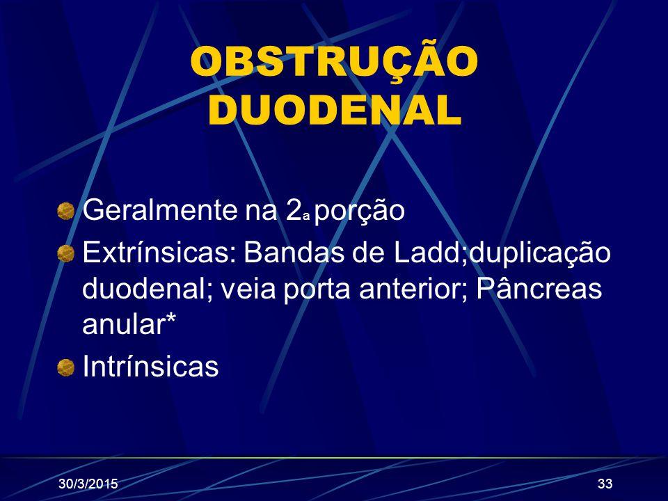 OBSTRUÇÃO DUODENAL Geralmente na 2 a porção Extrínsicas: Bandas de Ladd;duplicação duodenal; veia porta anterior; Pâncreas anular* Intrínsicas 30/3/20