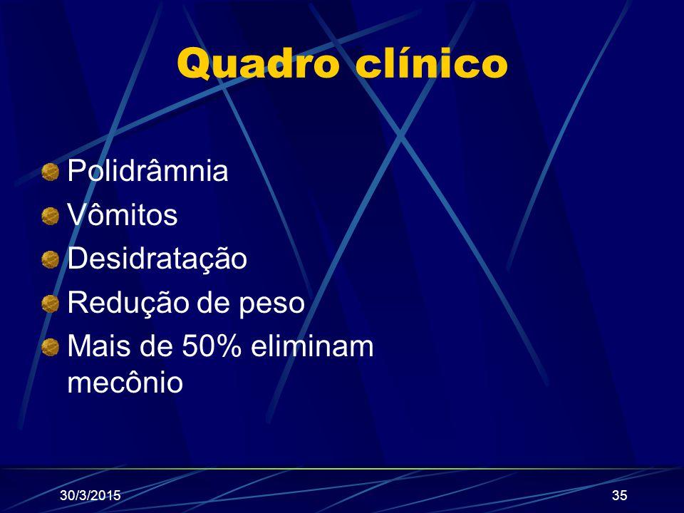 Quadro clínico Polidrâmnia Vômitos Desidratação Redução de peso Mais de 50% eliminam mecônio 30/3/201535