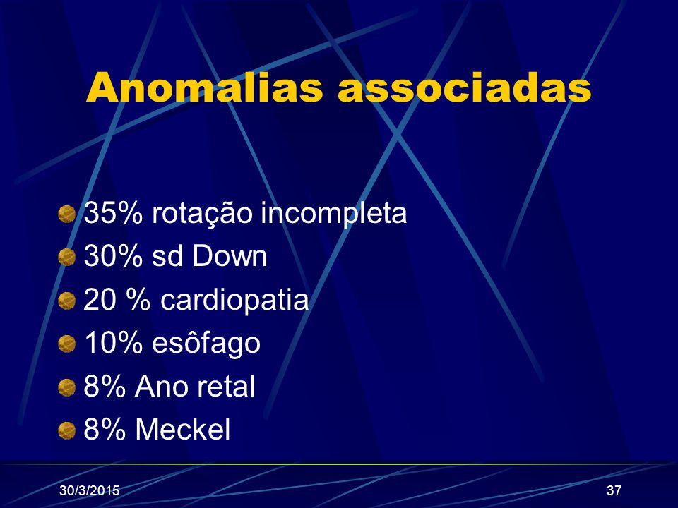 Anomalias associadas 35% rotação incompleta 30% sd Down 20 % cardiopatia 10% esôfago 8% Ano retal 8% Meckel 30/3/201537