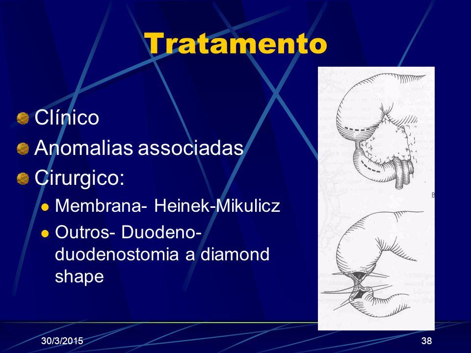Tratamento Clínico Anomalias associadas Cirurgico: Membrana- Heinek-Mikulicz Outros- Duodeno- duodenostomia a diamond shape 30/3/201538