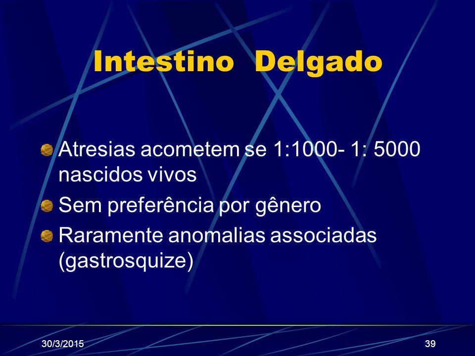 Intestino Delgado Atresias acometem se 1:1000- 1: 5000 nascidos vivos Sem preferência por gênero Raramente anomalias associadas (gastrosquize) 30/3/20