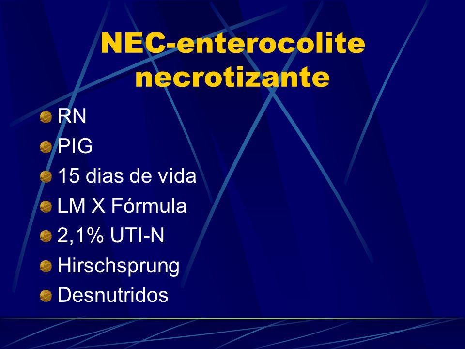 NEC-enterocolite necrotizante RN PIG 15 dias de vida LM X Fórmula 2,1% UTI-N Hirschsprung Desnutridos
