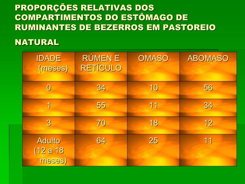 PROPORÇÕES RELATIVAS DOS COMPARTIMENTOS DO ESTÔMAGO DE RUMINANTES DE BEZERROS EM PASTOREIO NATURAL IDADE (meses) RÚMEN E RETÍCULOOMASOABOMASO 0341056