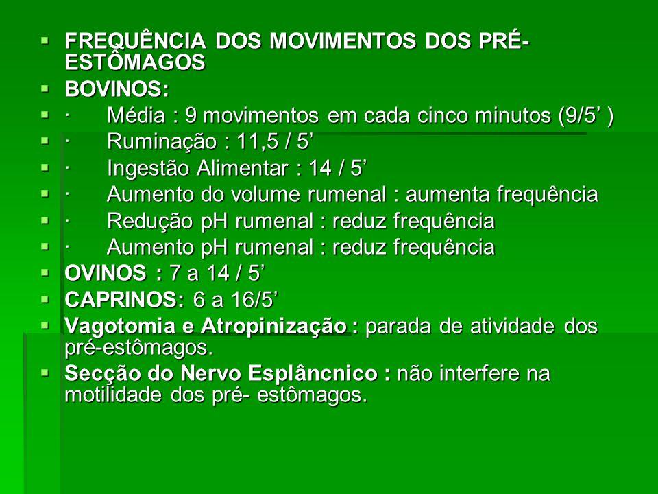  FREQUÊNCIA DOS MOVIMENTOS DOS PRÉ- ESTÔMAGOS  BOVINOS:  · Média : 9 movimentos em cada cinco minutos (9/5' )  · Ruminação : 11,5 / 5'  · Ingestã
