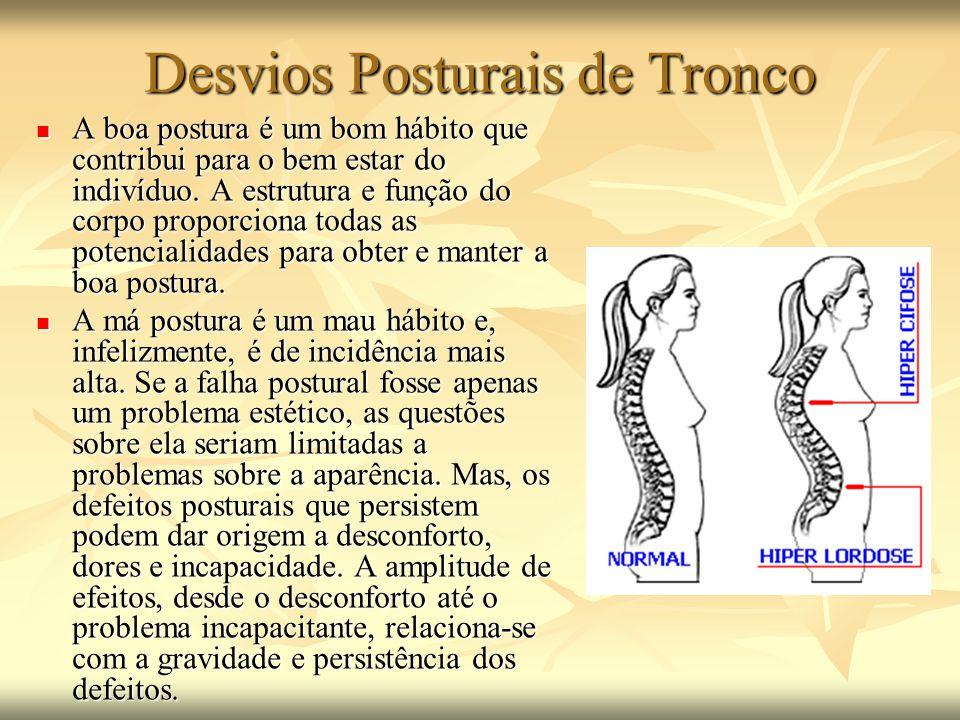 Desvios Posturais de Tronco A boa postura é um bom hábito que contribui para o bem estar do indivíduo. A estrutura e função do corpo proporciona todas