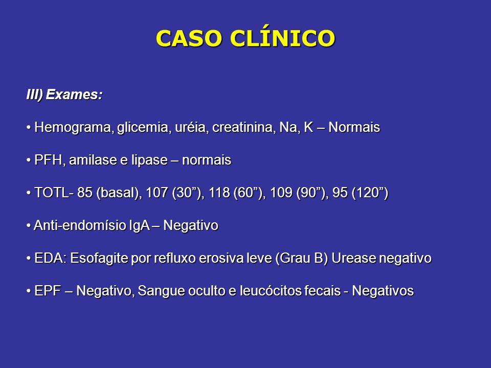 CASO CLÍNICO III) Exames: Hemograma, glicemia, uréia, creatinina, Na, K – Normais Hemograma, glicemia, uréia, creatinina, Na, K – Normais PFH, amilase