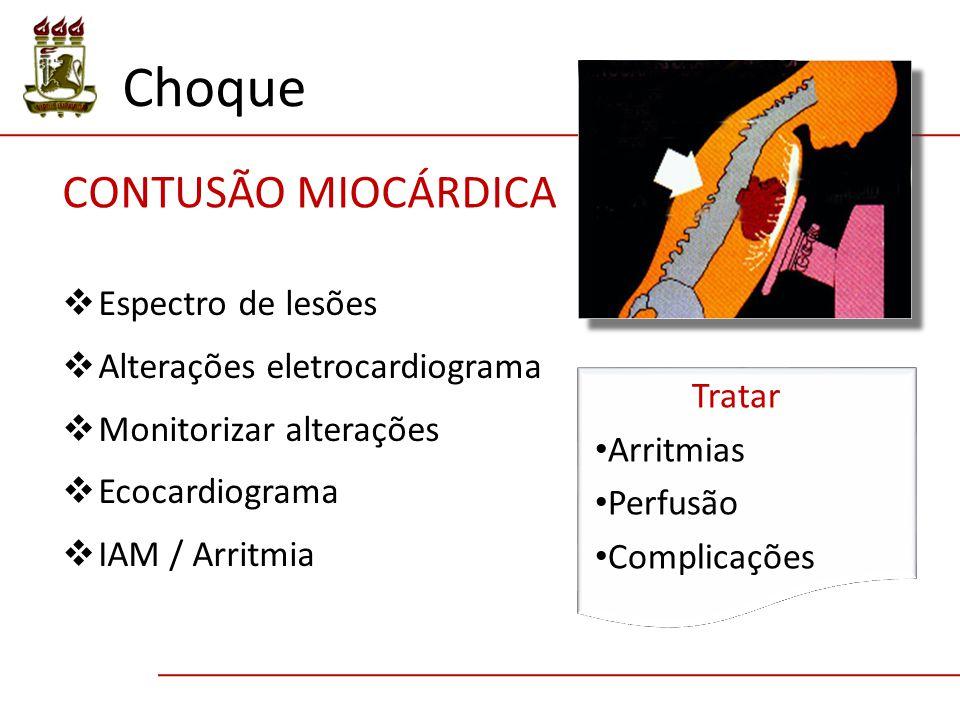  Espectro de lesões  Alterações eletrocardiograma  Monitorizar alterações  Ecocardiograma  IAM / Arritmia CONTUSÃO MIOCÁRDICA Tratar Arritmias Perfusão Complicações Choque