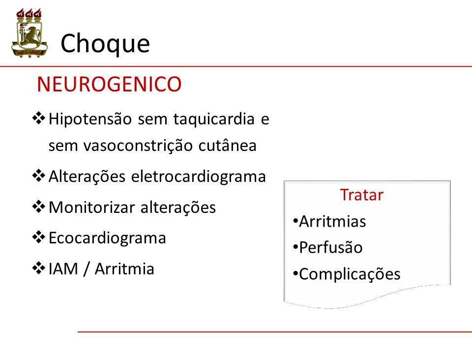  Hipotensão sem taquicardia e sem vasoconstrição cutânea  Alterações eletrocardiograma  Monitorizar alterações  Ecocardiograma  IAM / Arritmia NEUROGENICO Tratar Arritmias Perfusão Complicações Choque