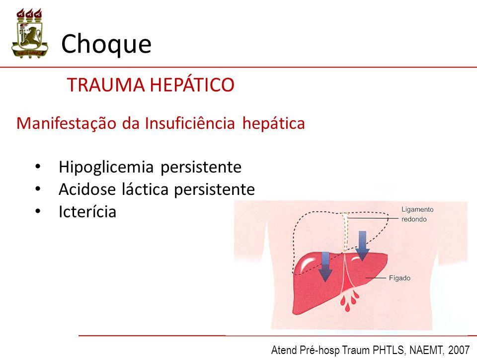 TRAUMA HEPÁTICO Choque Atend Pré-hosp Traum PHTLS, NAEMT, 2007 Manifestação da Insuficiência hepática Hipoglicemia persistente Acidose láctica persistente Icterícia