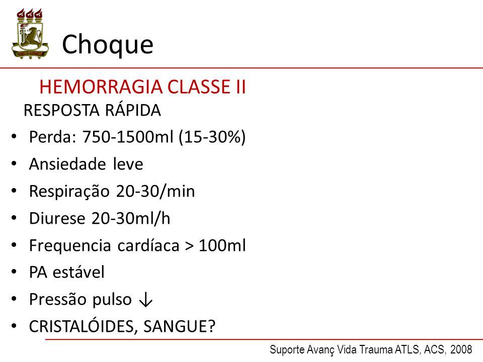 Choque HEMORRAGIA CLASSE II RESPOSTA RÁPIDA Perda: 750-1500ml (15-30%) Ansiedade leve Respiração 20-30/min Diurese 20-30ml/h Frequencia cardíaca > 100