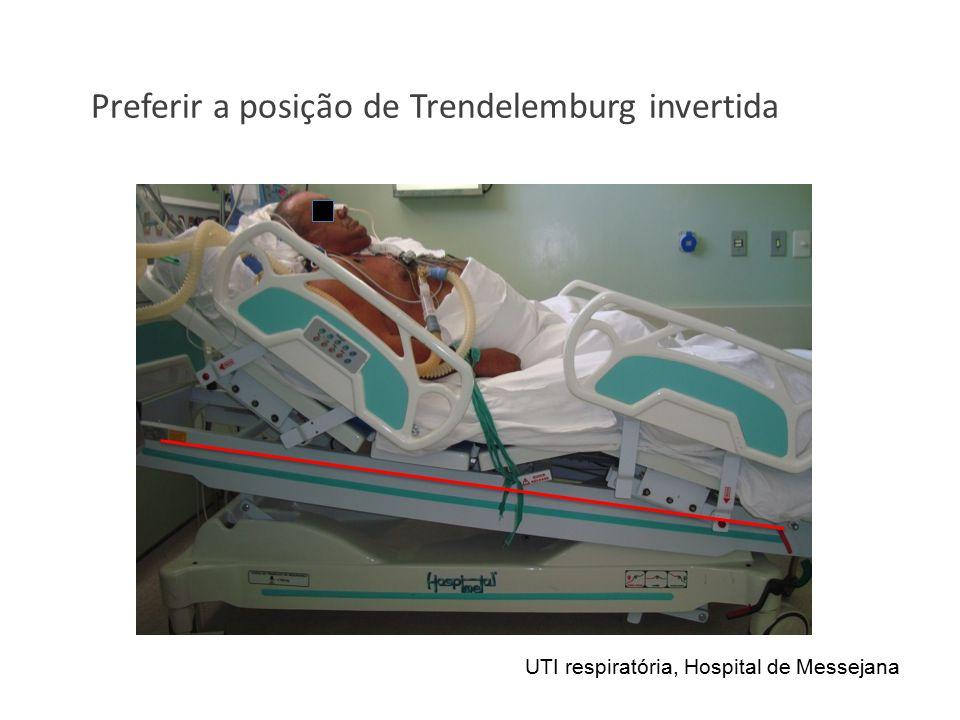 Preferir a posição de Trendelemburg invertida UTI respiratória, Hospital de Messejana