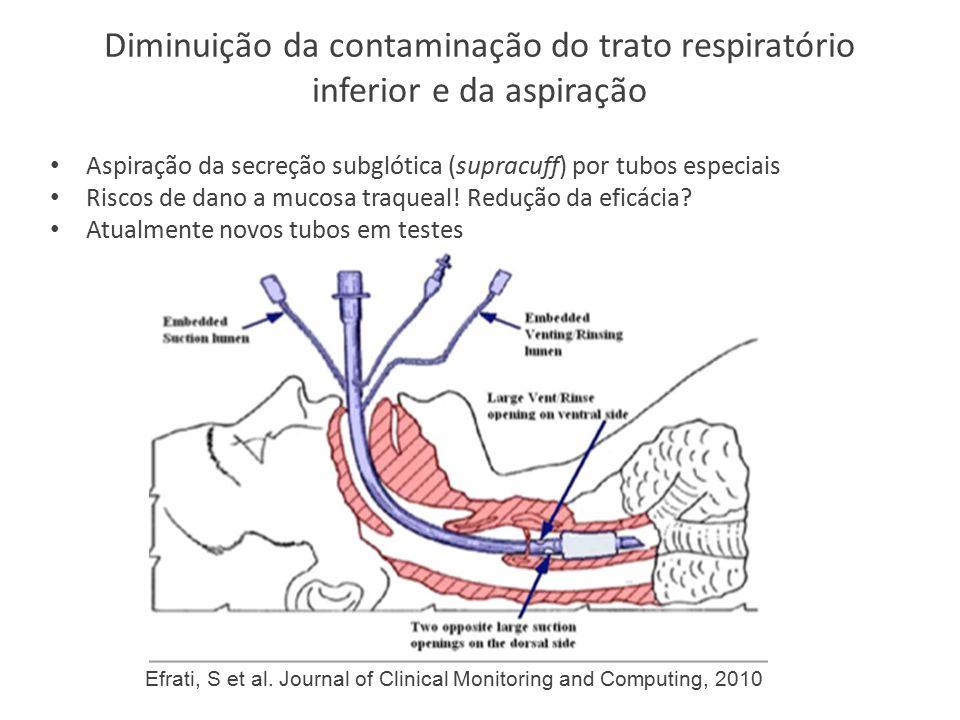 Diminuição da contaminação do trato respiratório inferior e da aspiração Aspiração da secreção subglótica (supracuff) por tubos especiais Riscos de dano a mucosa traqueal.