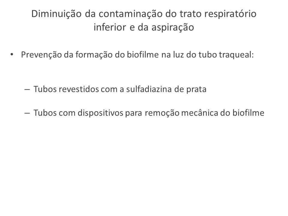Diminuição da contaminação do trato respiratório inferior e da aspiração Prevenção da formação do biofilme na luz do tubo traqueal: – Tubos revestidos com a sulfadiazina de prata – Tubos com dispositivos para remoção mecânica do biofilme