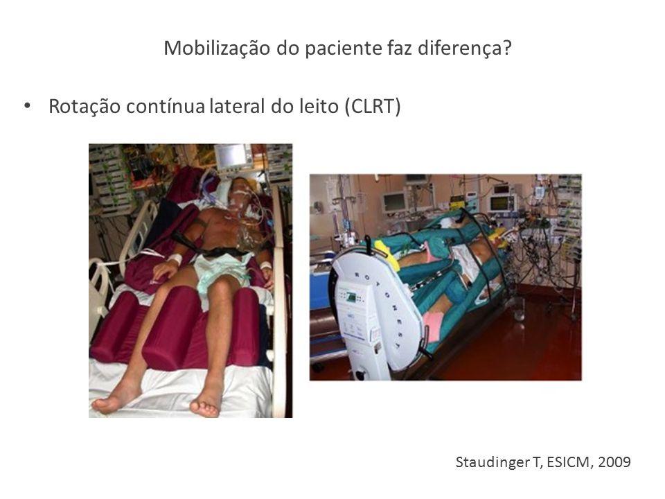 Staudinger T, ESICM, 2009 Rotação contínua lateral do leito (CLRT) Mobilização do paciente faz diferença?