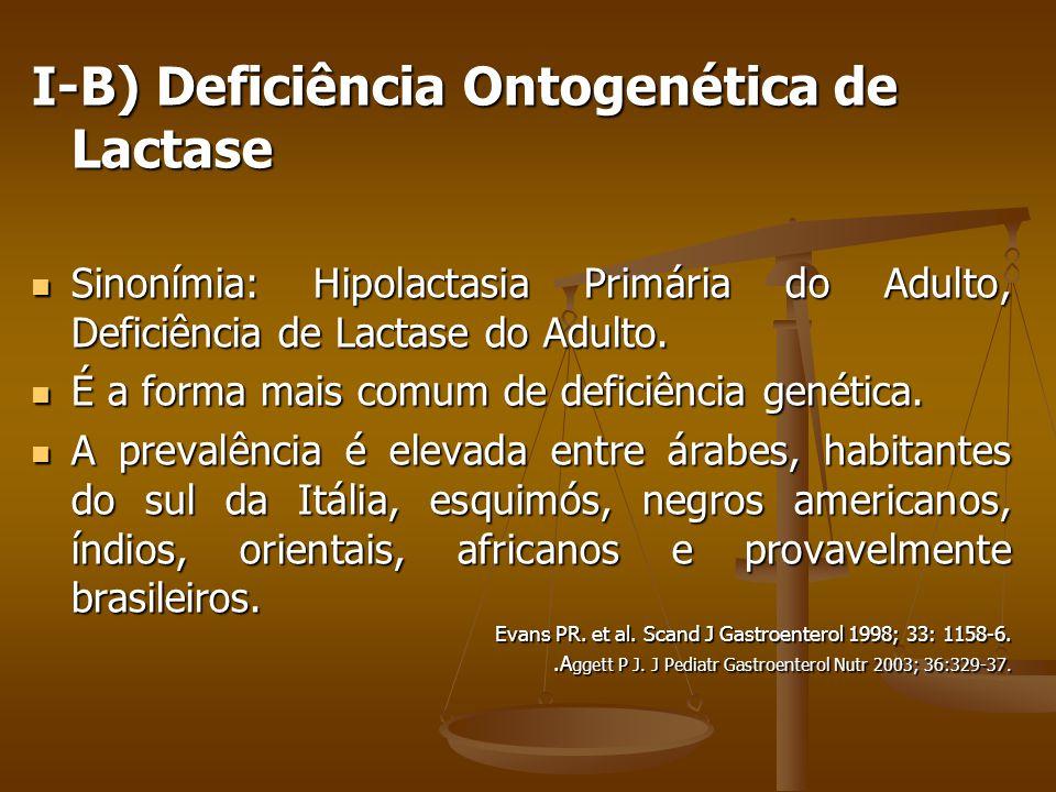I-B) Deficiência Ontogenética de Lactase Sinonímia: Hipolactasia Primária do Adulto, Deficiência de Lactase do Adulto.