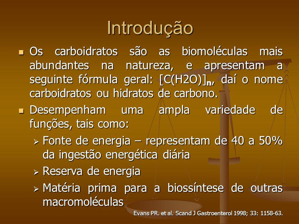 Os carboidratos são as biomoléculas mais abundantes na natureza, e apresentam a seguinte fórmula geral: [C(H2O)] n, daí o nome carboidratos ou hidratos de carbono.